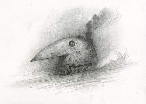"Shaun Tan - ""Crow Train"" (2017) - pencil on paper - 29.7 x 42cm (11.6""x16.5"")"