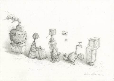 "Shaun Tan - ""Curatorial Staff"" (2009) - pencil on paper - 29.7 x 42cm (11.6""x16.5"")"