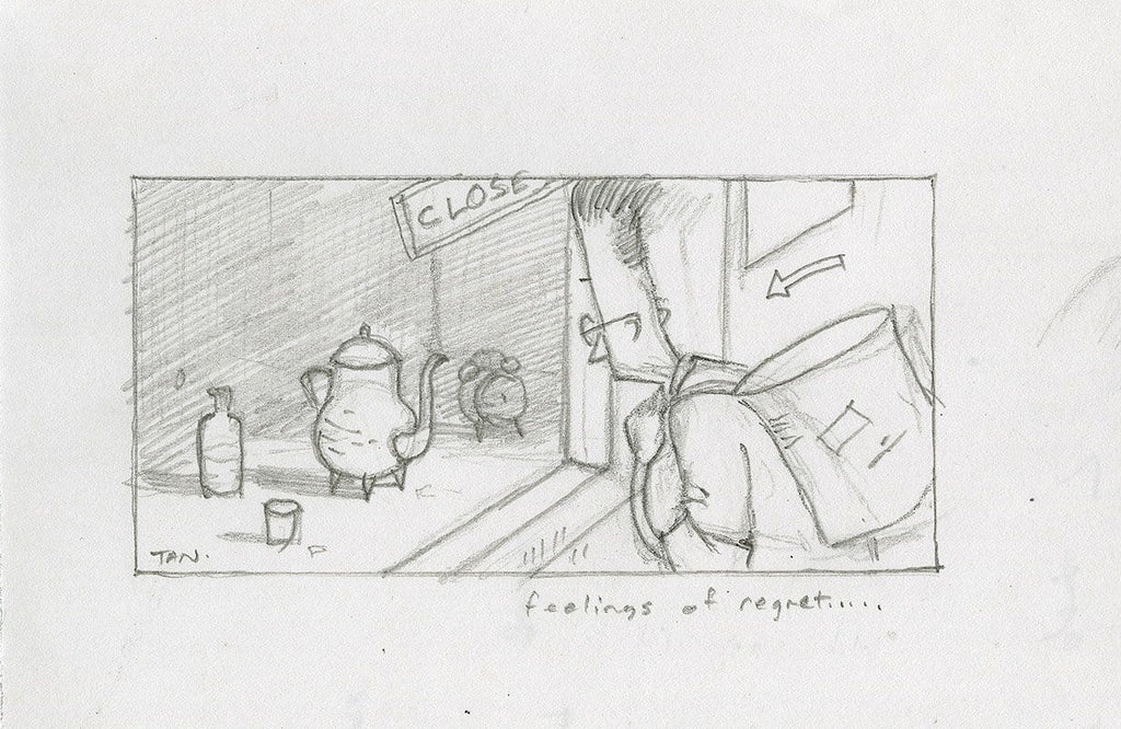 "Shaun Tan - Lost Thing film storyboard panel: Feelings of Regret (2009) - pencil on paper - 21 x 15cm (8.3""x5.9"")"