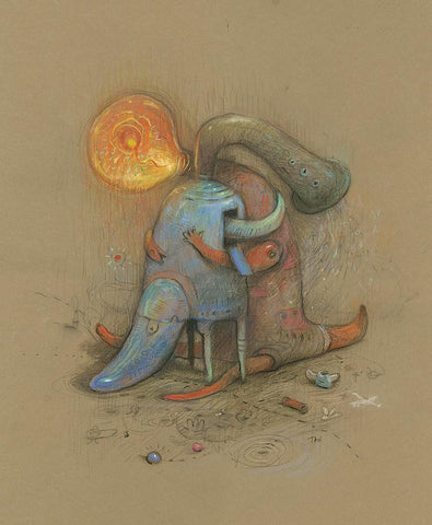 "Shaun Tan - 'Found' 2017 - pastel on paper - 55 x 75cm (21""x29.5"")"