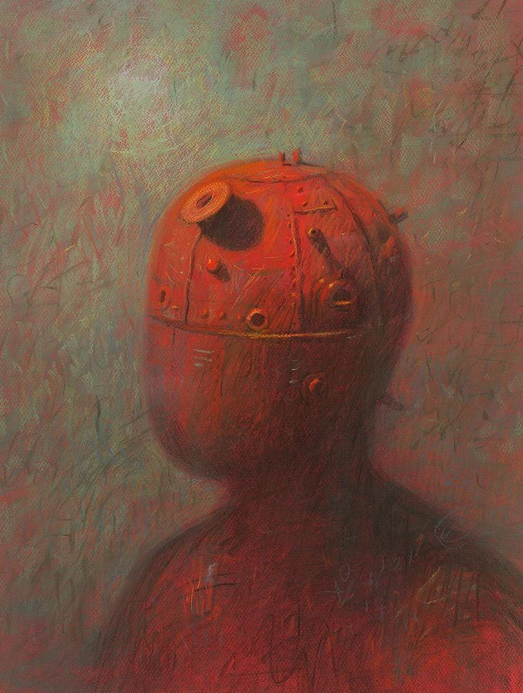 "Shaun Tan - ""Boiler"" - pastel on paper on board - 50 x 70cm (19.7""x27.6"")"