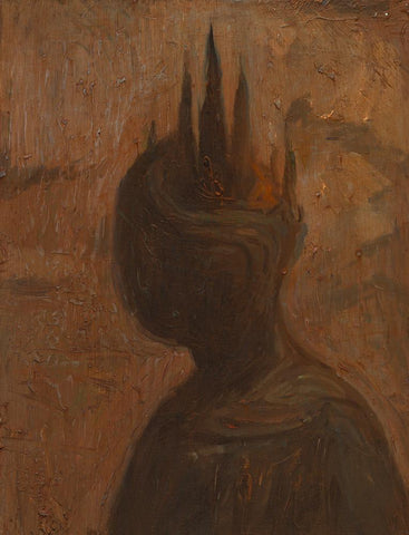 "Shaun Tan - ""Head: Cypress"" (2012) - oil on board- 20 x 15cm (7.8""x6"")"