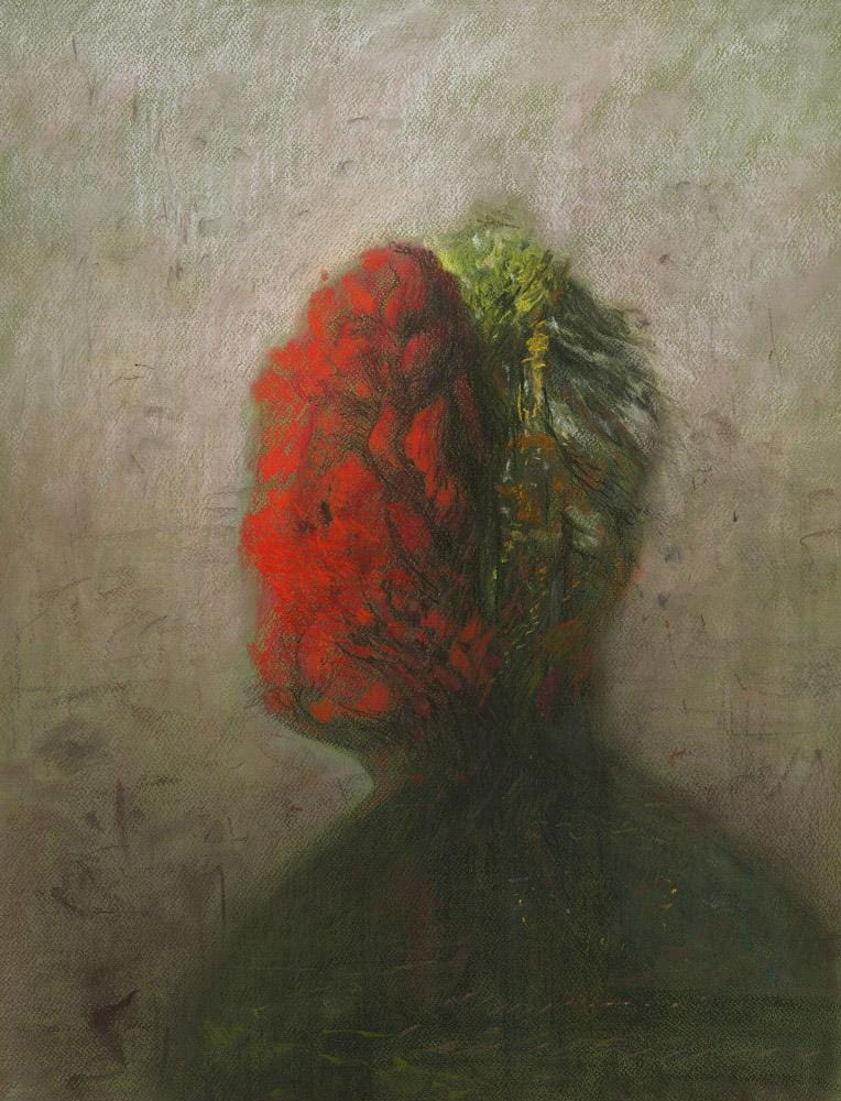 "Shaun Tan - ""Head: Red and Green (Autumn)"" (2016) - pastel on paper- 75 x 55cm (29.5""x21.6"")"