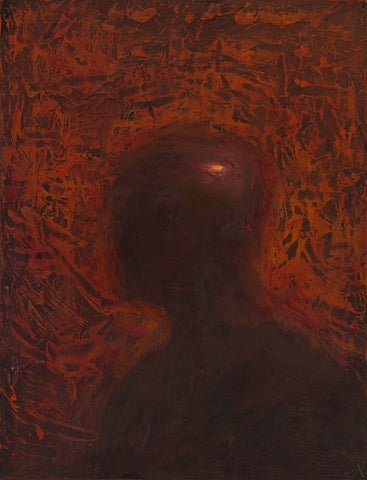 "Shaun Tan - ""Head: Red Contentment 2"" (2012) - oil on board- 20 x 15cm (7.8""x6"")"