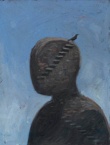 "Shaun Tan - ""Head: Steps"" (2012) - oil on board- 20 x 15cm (7.8""x6"")"