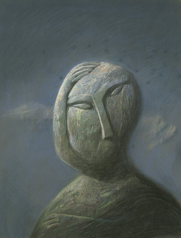 "Shaun Tan - ""Head: Stoneface"" (2016) - pastel on paper- 75 x 55cm (29.5""x21.6"")"