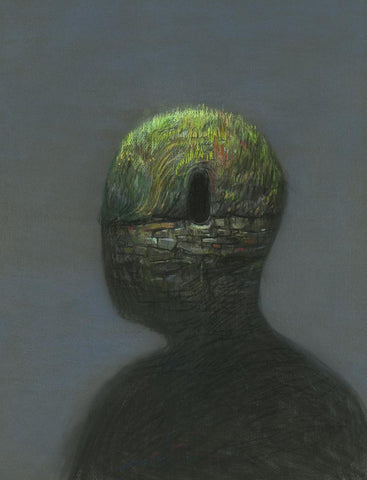 "Shaun Tan - ""Head: Tomb"" (2016) - pastel on paper- 75 x 55cm (29.5""x21.6"")"