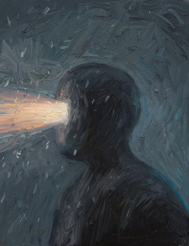 "Shaun Tan - ""Head: Headlight"" (2012) - oil on board- 20 x 15cm (7.8""x6"")"