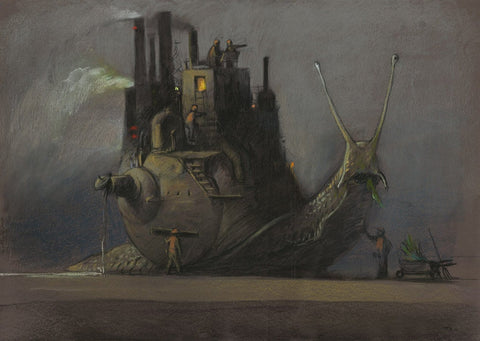 "Shaun Tan - ""Industry"" (2016) - pastel on paper- 75 x 55cm (29.5""x21.6"")"