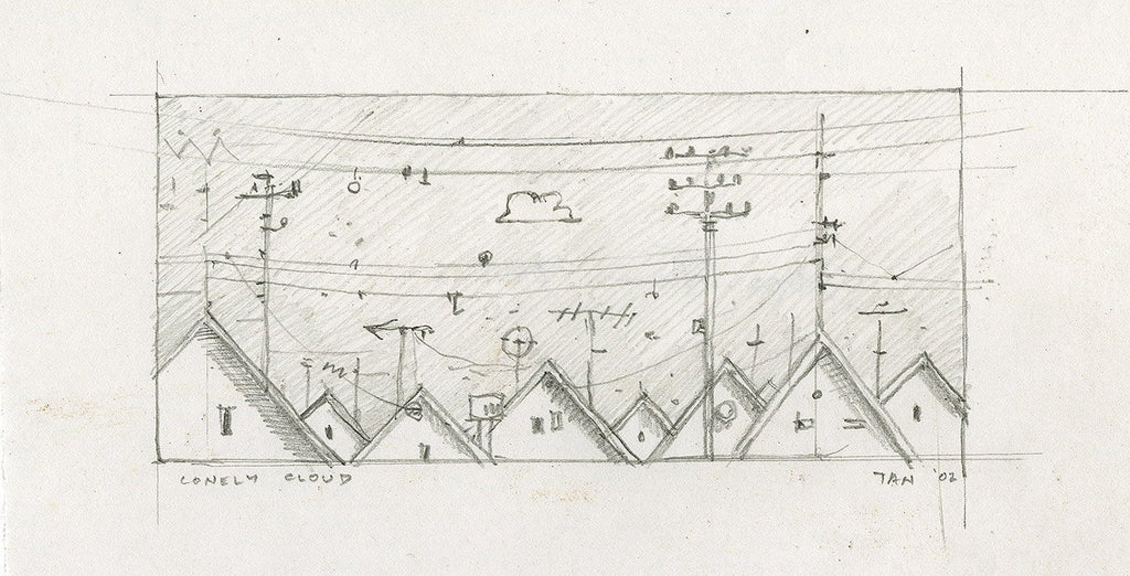 "Shaun Tan - Lost Thing film storyboard panel: Lonely Cloud (2002) - pencil on paper - 15 x 9cm (5.9""x3.5"")"