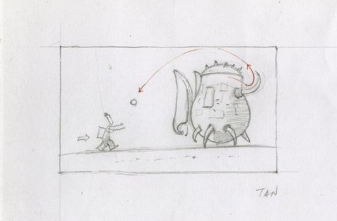 "Shaun Tan - Lost Thing film storyboard panel: Ball Toss (2004) - pencil on paper - 12 x 8cm (4.7""x3.1"")"