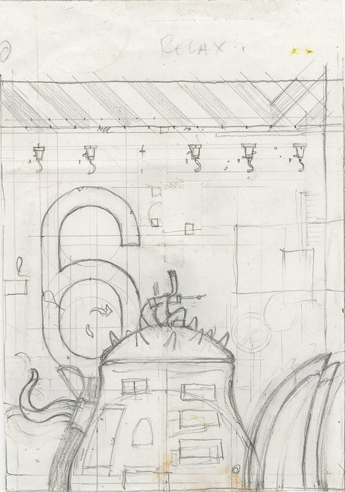 "Shaun Tan - Lost Thing book preliminary drawing: Searching for a sign (1998) - pencil on paper - 9.8 x 13cm (3.9""x5.1"")"