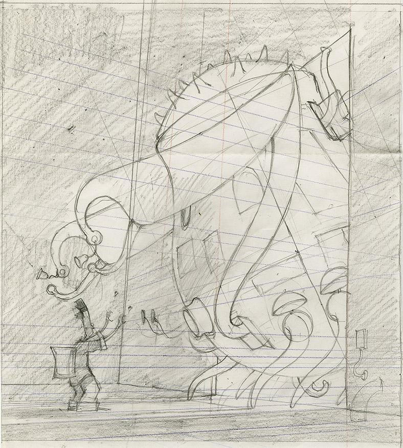 "Shaun Tan - Lost Thing book preliminary drawing: Saying Goodbye (1998) - pencil on paper - 21 x 23cm (8.3""x9.1"")"
