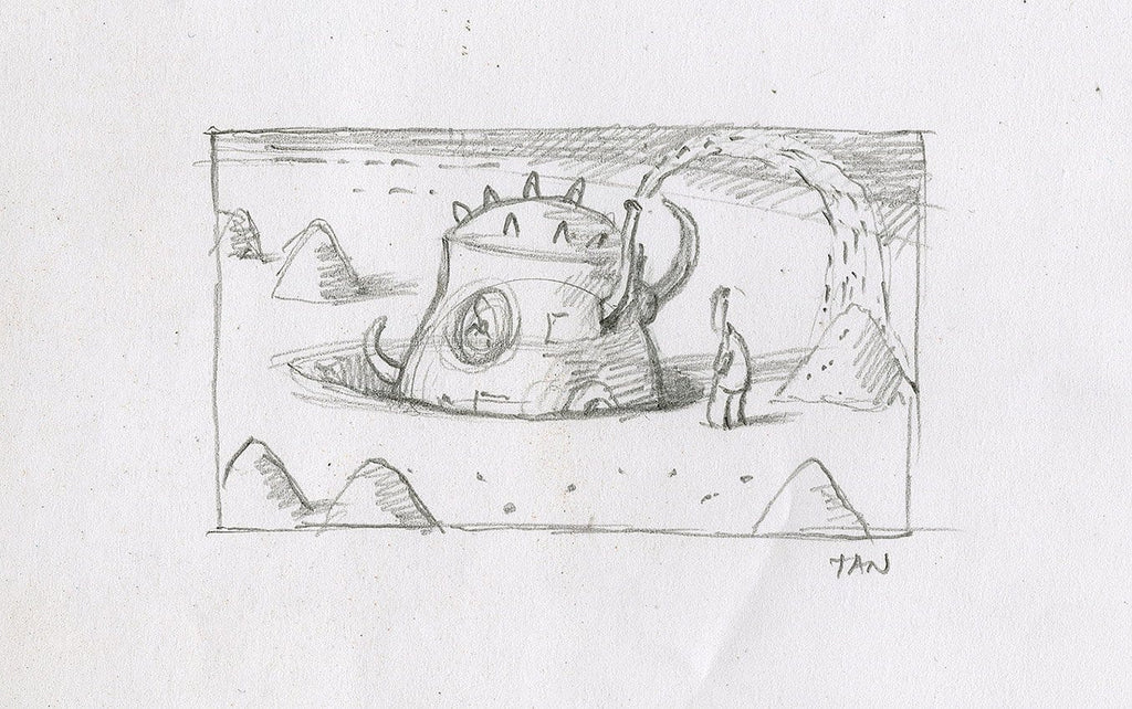 "Shaun Tan - Lost Thing film storyboard panel: Dig (2004) - pencil on paper - 12 x 8cm (4.7""x3.1"")"