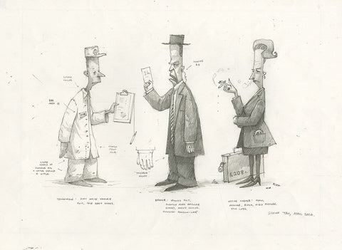 "Shaun Tan -  Lost Thing Film character designs: City People (2006) - pencil on paper - 42 x 29.7cm (11.7""x16.5"")"