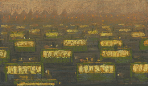 "Shaun Tan -  Lost Thing film colour study: Evening Trams - pastel on paper - 20 x 11.5cm (7.9""x4.5"")"