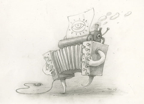 "Shaun Tan - Lost Thing film concept art: Accordio (2007) - pencil on paper - 29.7 x 21cm (11.7""x8.3"")"