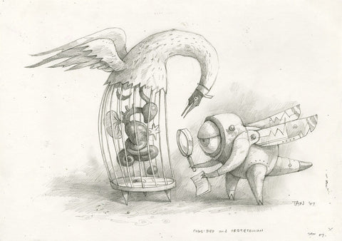 "Shaun Tan - Lost Thing film concept art: Cagebird and Obstetrician (2007) - pencil on paper - 21 x 29.7cm (8.3""x11.7"")"