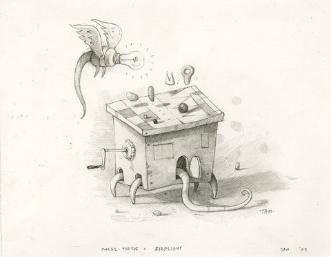 "Shaun Tan - Lost Thing film concept art: Chess Turtle and Birdlight (2007) - pencil on paper - 29.7 x 21cm (11.7""x8.3"")"