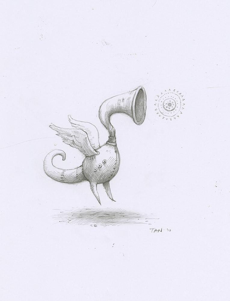 "Shaun Tan - Lost Thing film concept art: Horn Duck with tiny Sun (2010) - pencil on paper - 21 x 29.7cm (8.3""x11.7"")"
