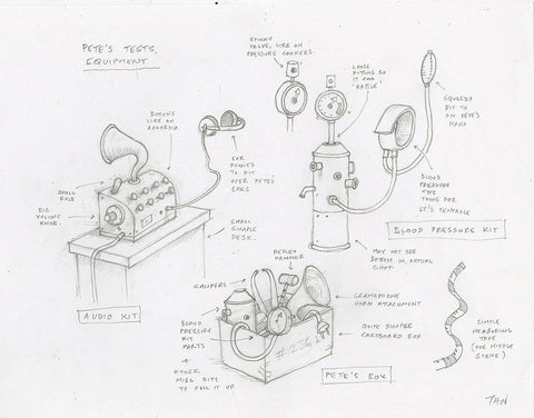 "Shaun Tan - Lost Thing film concept art: Pete's Gadgets (2007) - pencil on paper - 42 x 29.7cm (16.5""x11.7"")"