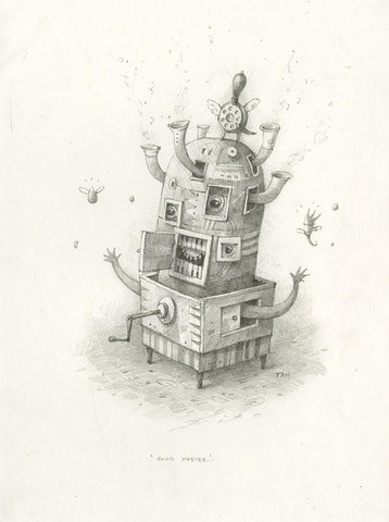 "Shaun Tan - Lost Thing film concept art: Song Master (2007) - pencil on paper - 21 x 29.7cm (8.3""x11.7"")"