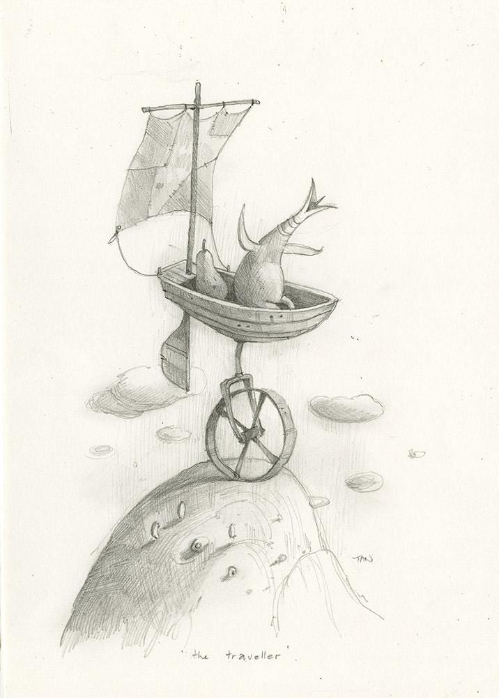 "Shaun Tan - Lost Thing film concept art: The Traveller, with Passenger Pear (2007) - pencil on paper - 21 x 29.7cm (8.3""x11.7"")"