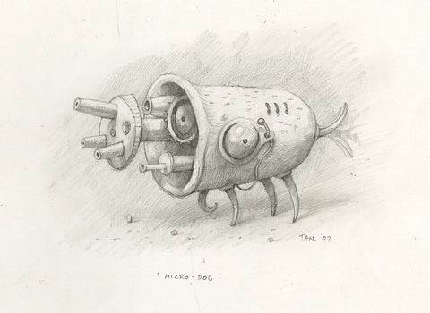 "Shaun Tan - Lost Thing film concept art: Microdog (2007) - pencil on paper - 29.7 x 21cm (11.7""x8.3"")"