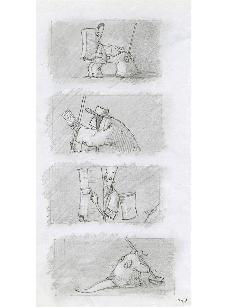 "Shaun Tan - Lost Thing film storyboard - The Cleaner (2007) - pencil on paper - 21 x 29.7cm (8.3""x11.7"")"