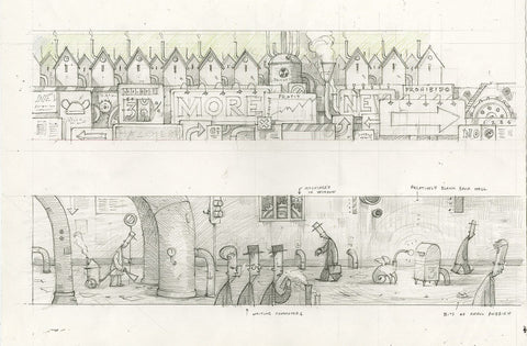 "Shaun Tan - Lost Thing film storyboard: Tram Window Landscape (2007) - pencil on paper - 29.7 x 21cm (11.7""x8.3"")"