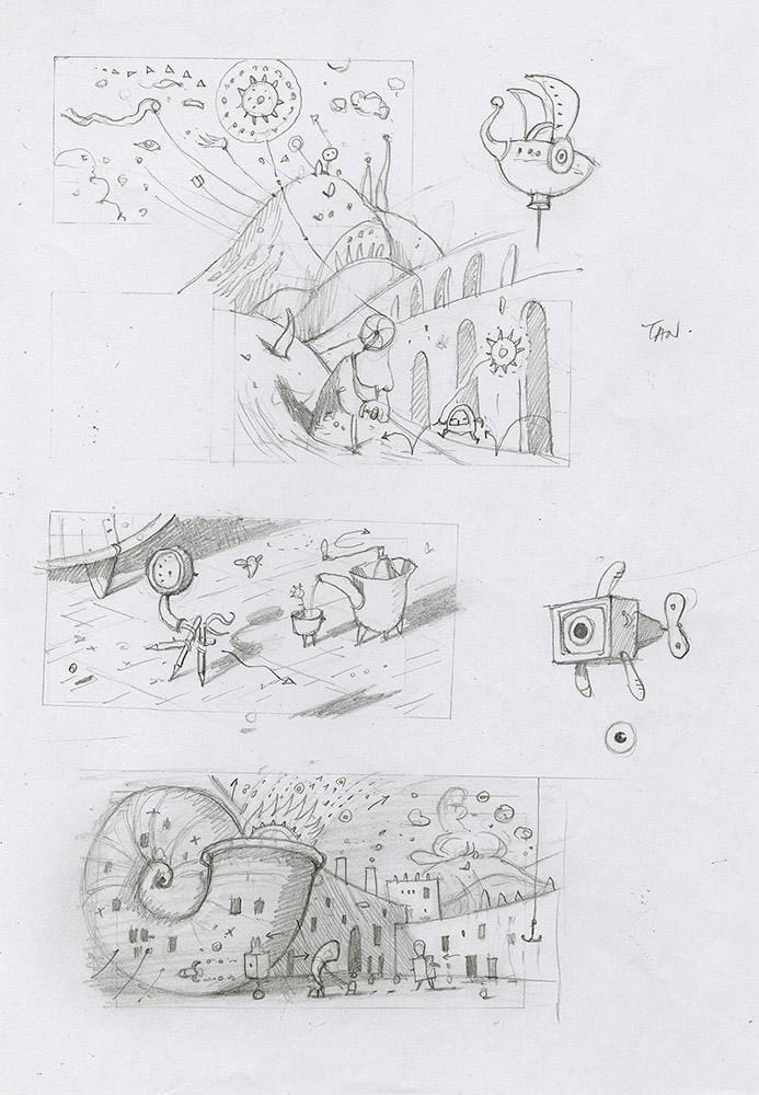 "Shaun Tan - Lost Thing film storyboard - Utopia Scenes (2007) - pencil on paper - 21 x 29.7cm (8.3""x11.7"")"