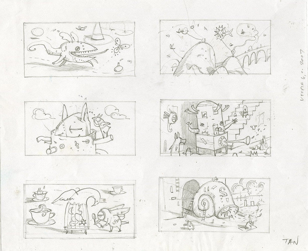 "Shaun Tan - Lost Thing film storyboard: Utopia Vignettes (2007) - pencil on paper - 29.7 x 21cm (11.7""x8.3"")"