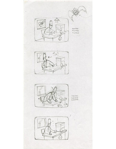 "Shaun Tan - Lost Thing film storyboard: Workplace Distraction (2006) - pencil on paper - 21 x 29.7cm (8.3""x11.7"")"