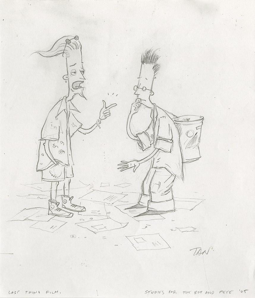 "Shaun Tan - Lost Thing film study for the boy and pete (2007) - pencil on paper - 18 x 21cm (7.1""x8.3"")"