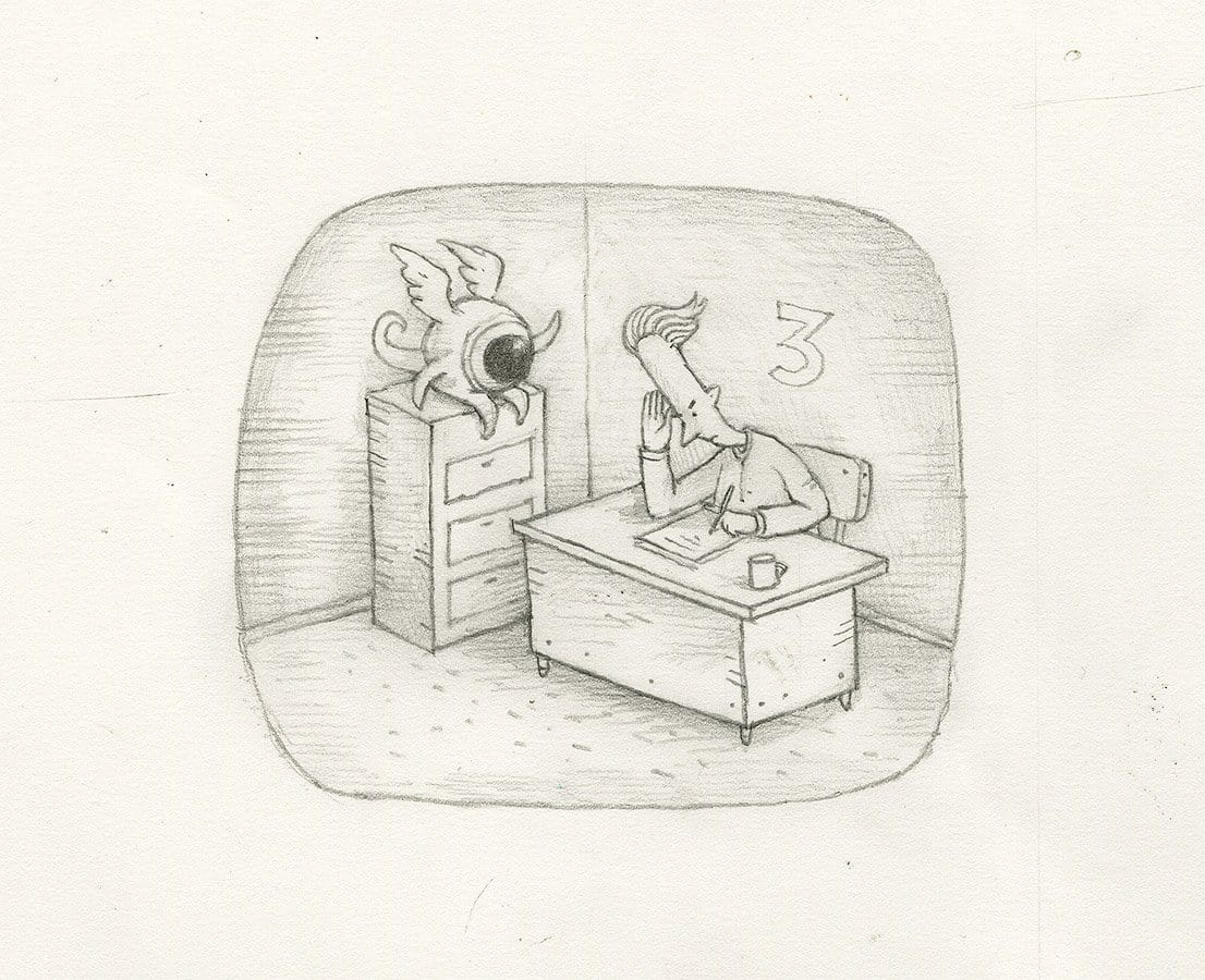 Shaun tan lost thing film tv ad objects without name 2009 pencil on paper