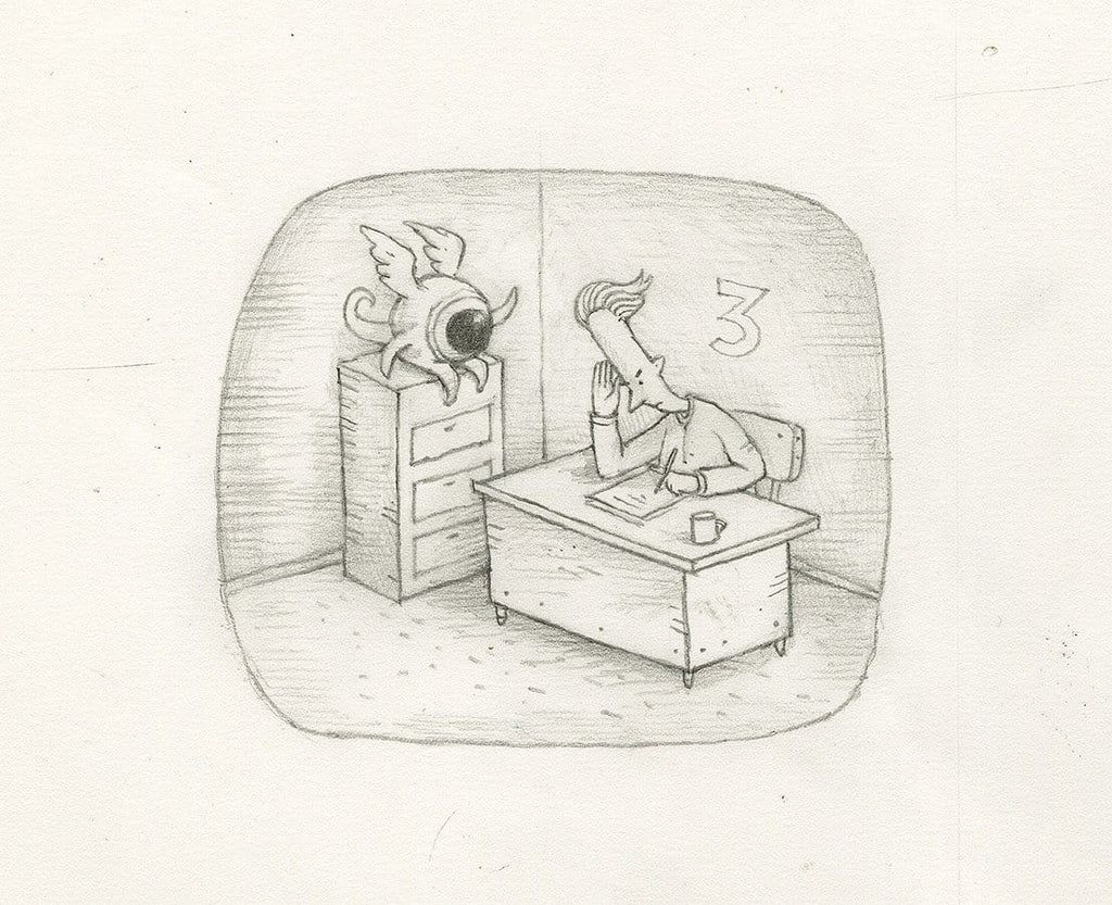 "Shaun Tan - Lost Thing film TV ad – Objects without name (2009) - pencil on paper - 21 x 15cm (8.3""x5.9"")"