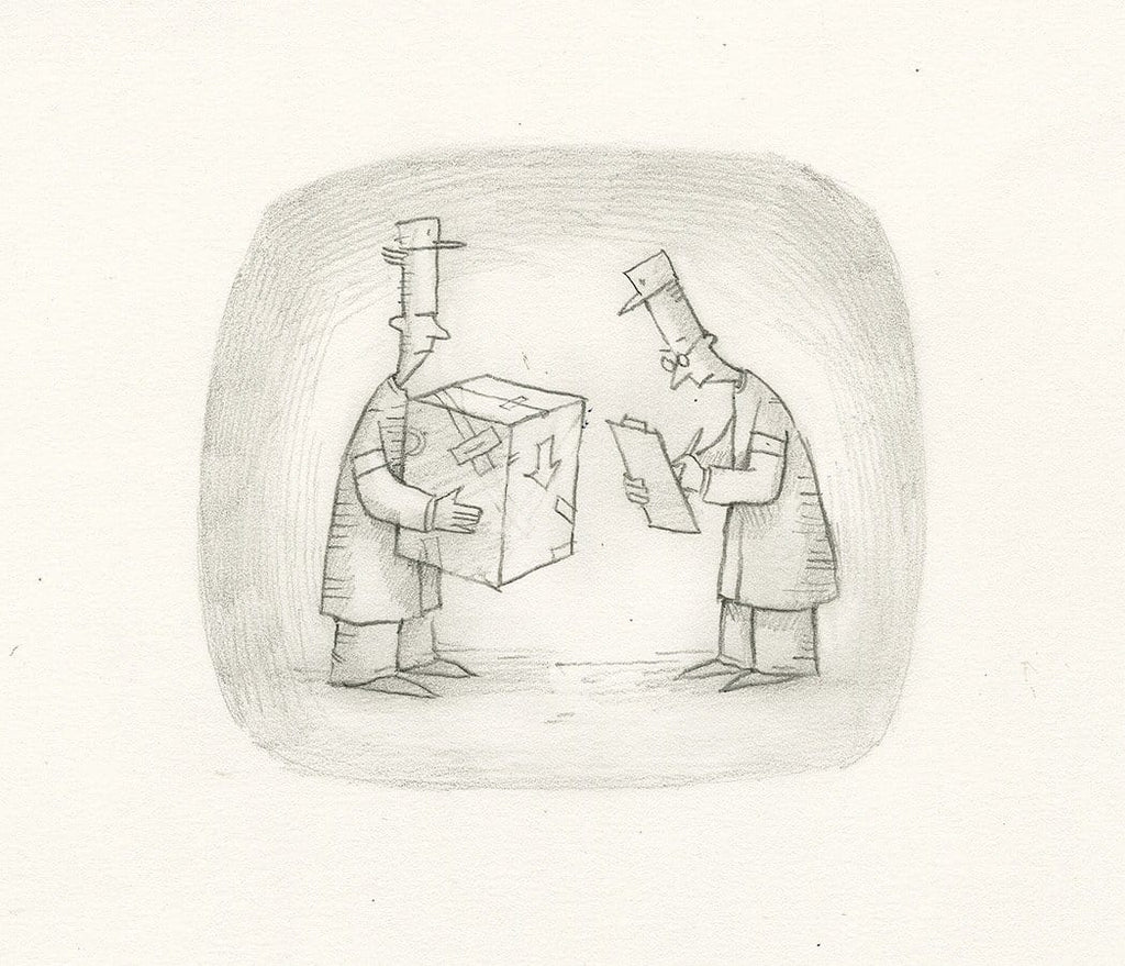 "Shaun Tan - Lost Thing film TV ad - We've got a pigeonhole to stick it in (2009) - pencil on paper - 21 x 15cm (8.3""x5.9"")"
