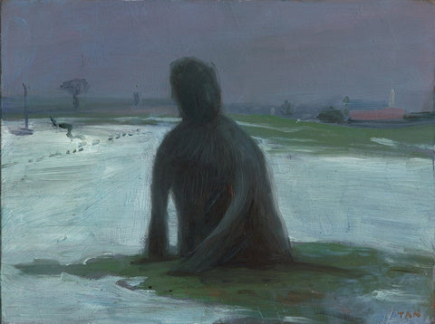 "Shaun Tan - 'Man growing from a winter landscape' - oil on board - 20 x 15cm (7.9""x6"")"