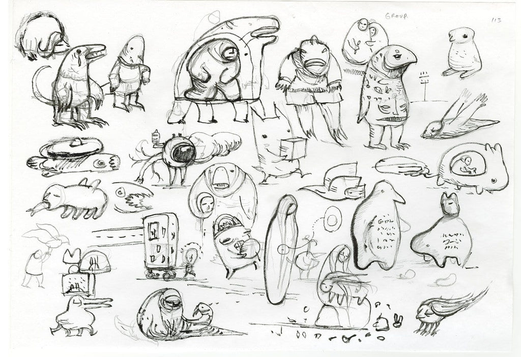 "Shaun Tan - ""Mythological Creatures"" (sketches) (2008) - pencil and ink on paper - 21 x 29.7cm (8.2""x11.6"")"