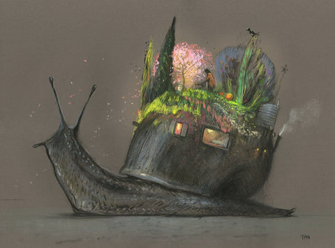 "Shaun Tan - ""Nature"" (2016) - pastel on paper- 75 x 55cm (29.5""x21.6"")"