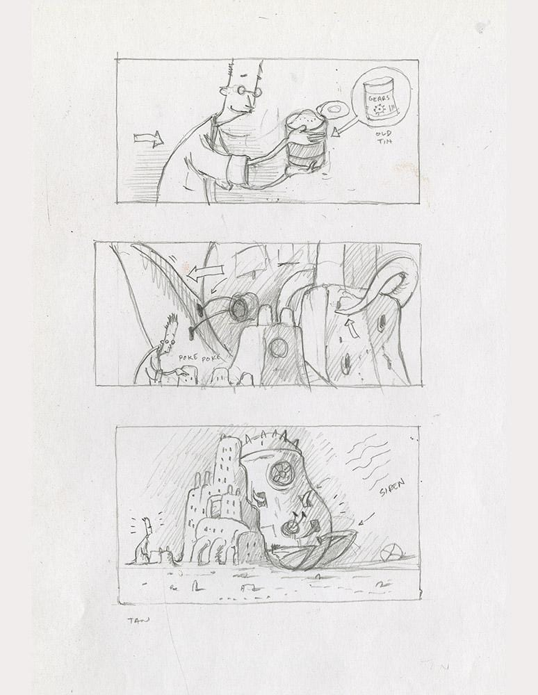 "Shaun Tan - Lost Thing film storyboard: Sandcastle (2005) - pencil on paper - 21 x 29.7cm (8.3""x11.7"")"