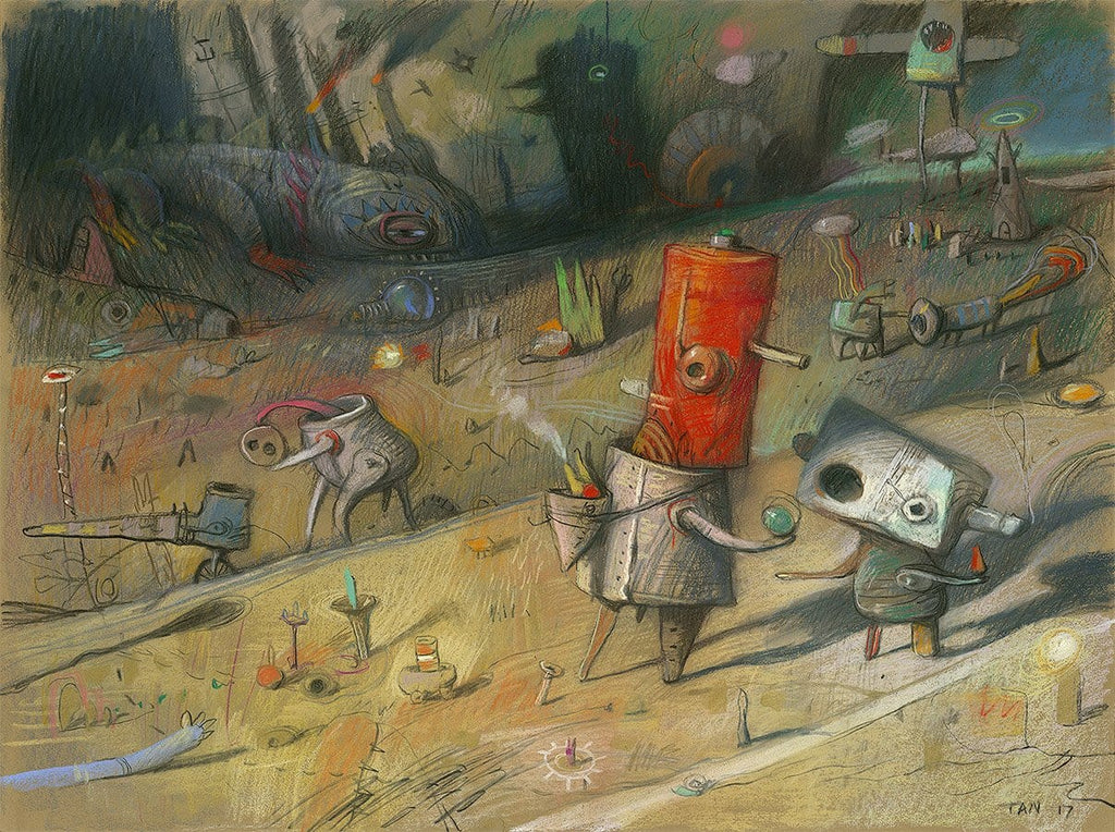 "Shaun Tan - 'The Birth of Commerce' 2017 - pastel and pencil on paper - 75 x 55cm (29.5""x21.7"")"
