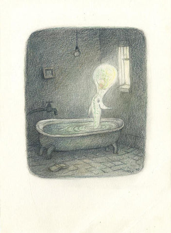 "Shaun Tan - ""The Thing in the Bathroom"" (2010) - coloured pencil - 14 x 17.5cm (5.5""x6.8"")"
