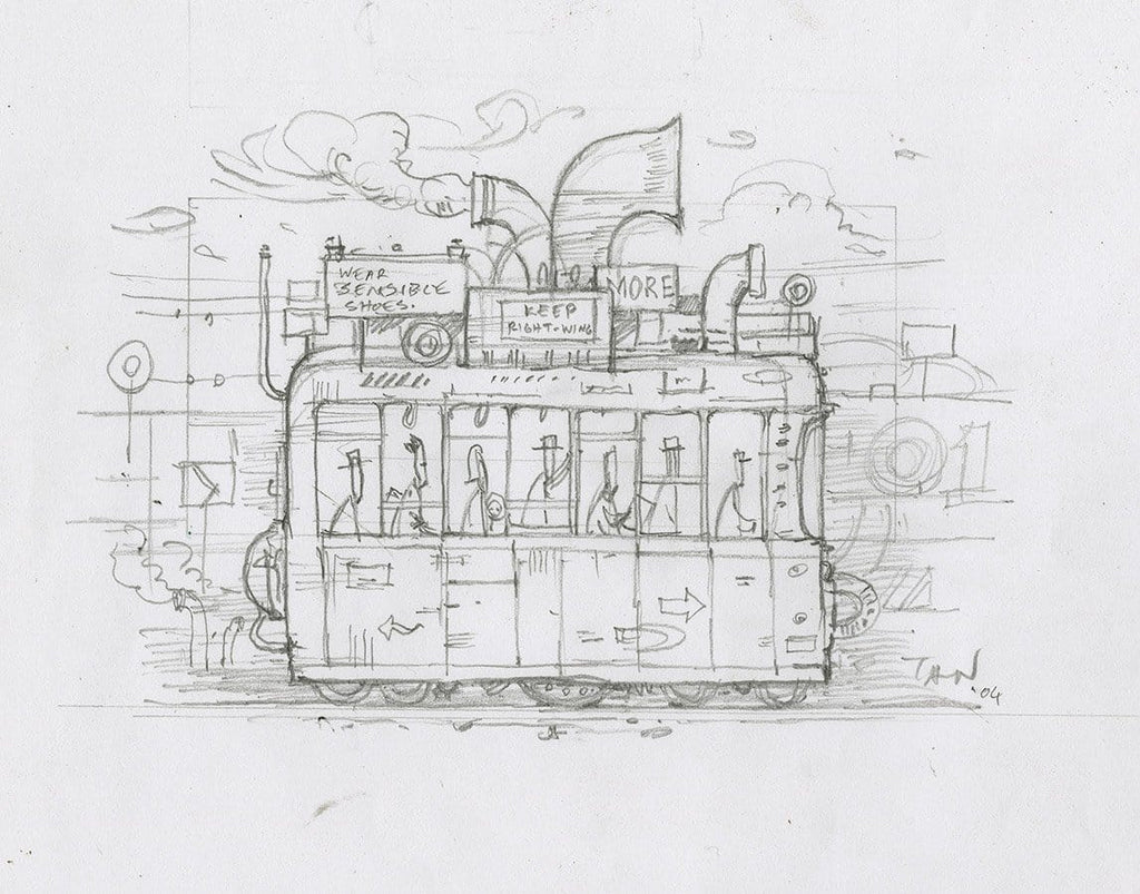 "Shaun Tan - Lost Thing film storyboard panel: Tram (2004) - pencil on paper - 17 x 16cm (6.7""x6.3"")"