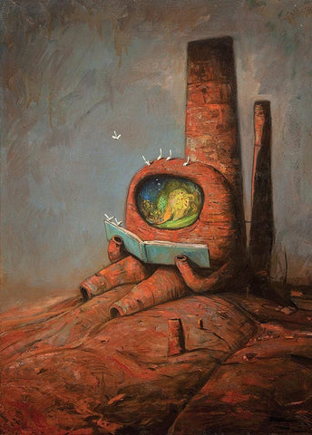"Shaun Tan - 'The Reader' (2015) - oil on canvas - 61 x 83cm (24""x32.7"")"