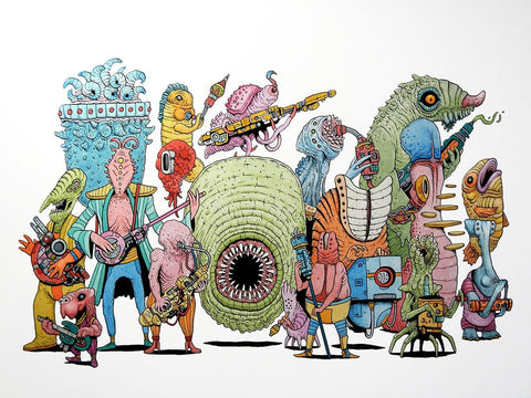 "Tim Molloy - ""Big Band"" - watercolour and indian ink on watercolour paper"