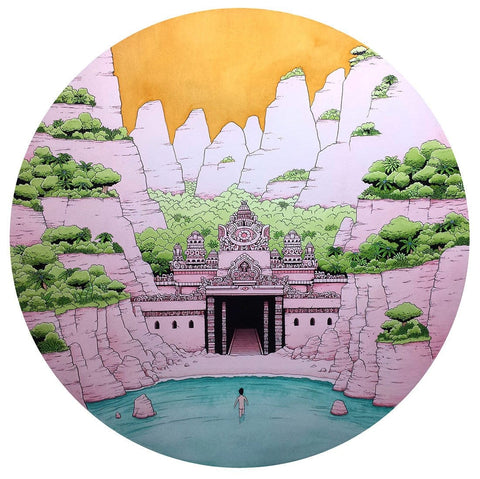 "Tim Molloy - ""Mr Unpronounceable and the Temple of Tranquillity"" - watercolour and indian ink on watercolour paper. 80 x 80cm (31.5""x31.5"")"