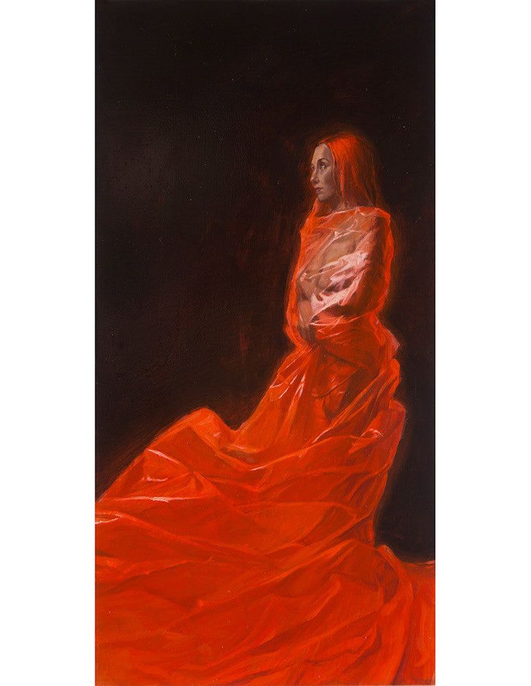 "Ville Löppönen - ""Red II"" - oil on hard board - 31 x 15.5cm (12.2""x6.1"")"