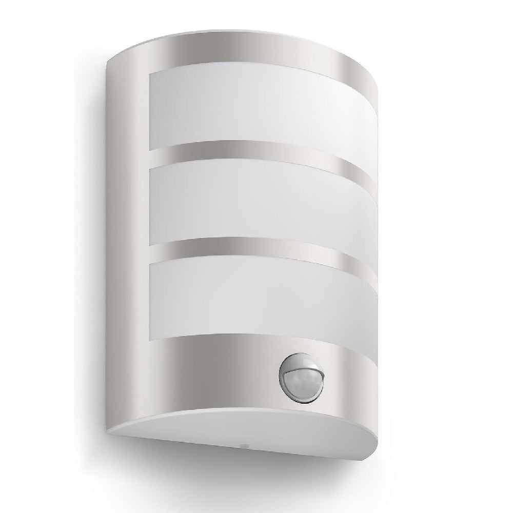Philips 17324 47 16 python stainless steel led outdoor curved flush wall light with pir 173244716