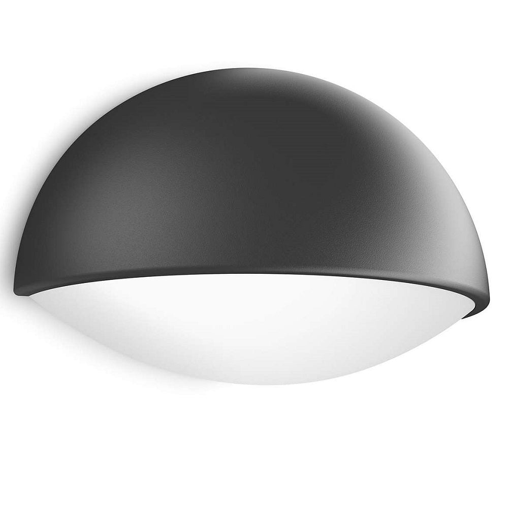 Philips 16407 93 16 dust anthracite led outdoor half moon flush wall light 164079316